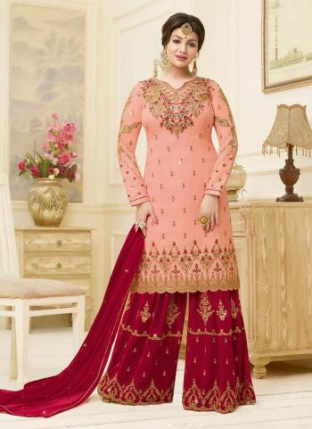 Georgette Satin Pink Heavy Embroidery Work Wedding Wear Sharara Suit