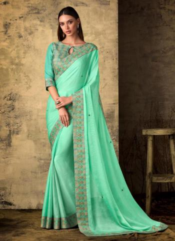 Georgette Sea Green Lace Work Party Wear Saree