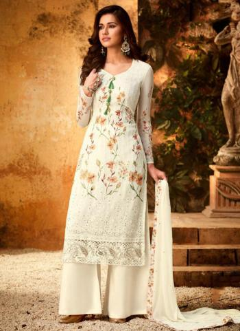 Embroidery Work Georgette Viscose Cream Palazzo Suit