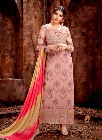 Georgette Wedding Wear Pink Embroidery Work Salwar Suit