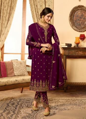 Georgette Wine Wedding Wear Heavy Embroidery Work Churidar Suit