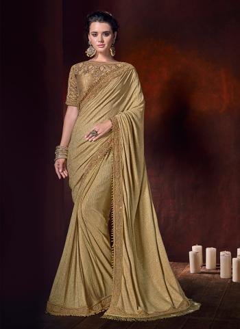 Gold Lycra Wedding Wear Lace Work Saree