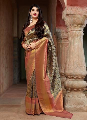 Golden And Red Banarasi Silk Wedding Wear Weaving Saree