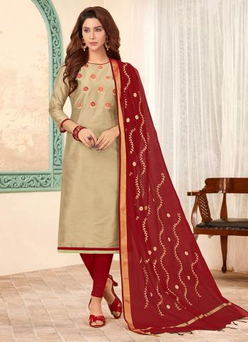 Golden Cotton Daily Wear Embroidery Work Churidar Suit