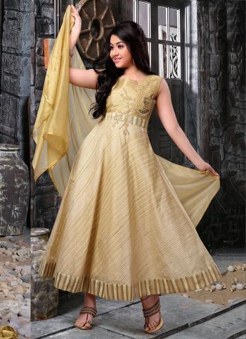 Golden Cotton Jacquard Party Wear Hand Work Kids Dress