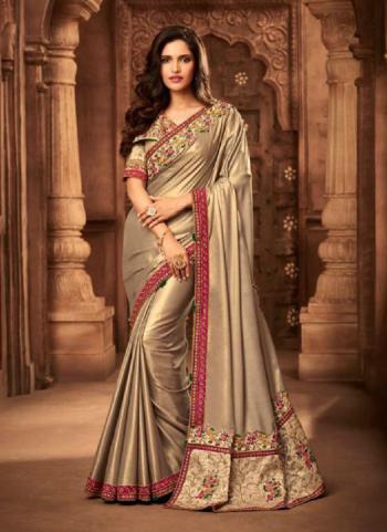 Golden Fancy Silk Reception Wear Embroidery Work Saree