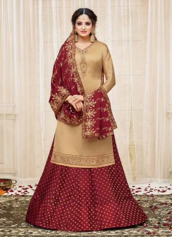Golden Georgette Satin Wedding Wear Embroidery Work Lehenga Suit