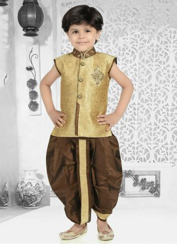 Golden Jacqaurd Festival Wear Fancy Work Kids Kurta Pajama