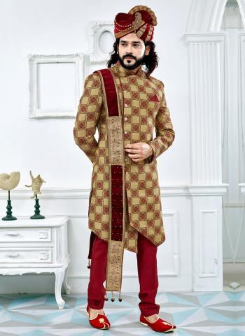 Groom Special Golden Jacquard Wedding Wear Printed Sherwani