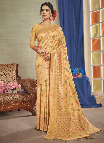 Golden Silk Party Wear Weaving Saree