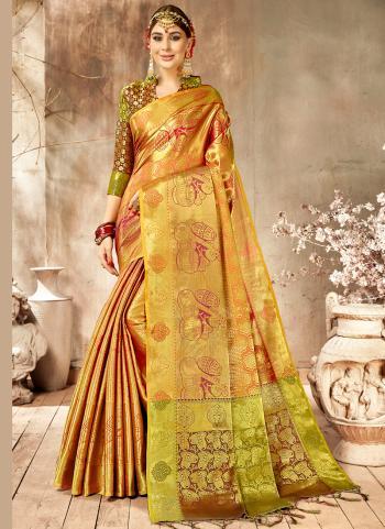 Golden Silk Reception Wear Weaving Saree