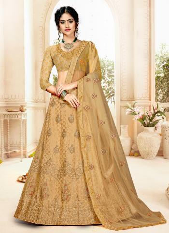 Golden Silk Wedding Wear Embroidery Work Lehenga Choli