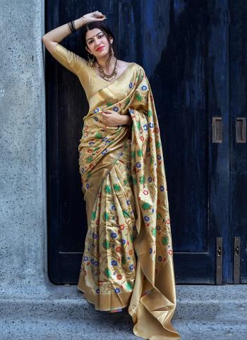 Golden Silk Embroidery Work Wedding Wear Saree