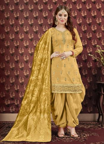 Golden Viscose Upada Gota Patti Work Wedding Wear Patiala Suit