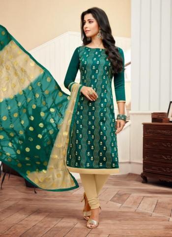 Green Banarasi Cotton Daily Wear Printed Work Churidar Suit