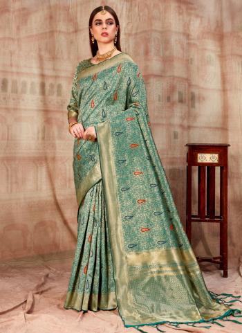 Weaving Green Banarasi Silk Party Wear Saree