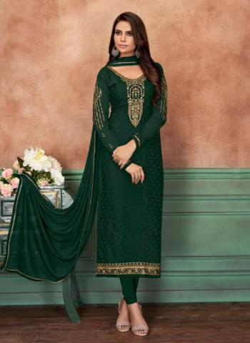 Green Brasso Casual Wear Embroidery Work Churidar Suit