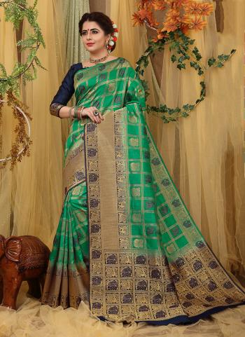 Green Brocade Silk Wedding Wear Border Work Saree