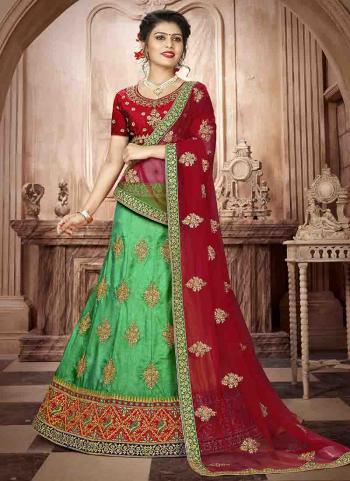 Green Butter Silk Wedding Wear Butta Work Lehenga Choli