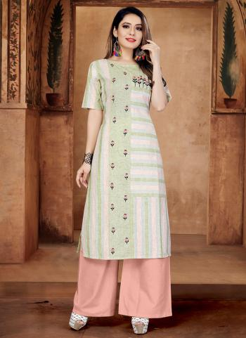Green Cotton Casual Wear Embroidery Work Kurti