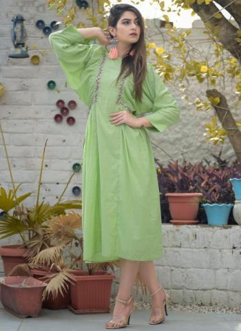 Green Cotton Daily Wear Embroidery Work Kurti