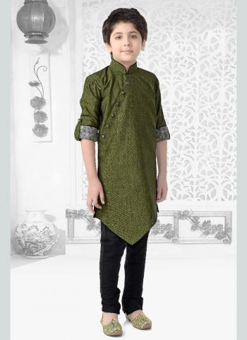 Green Cotton Festival Wear Printed Work Kids Kurta Pajama