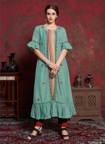 Green Cotton Party Wear Embroidery Work Kurti