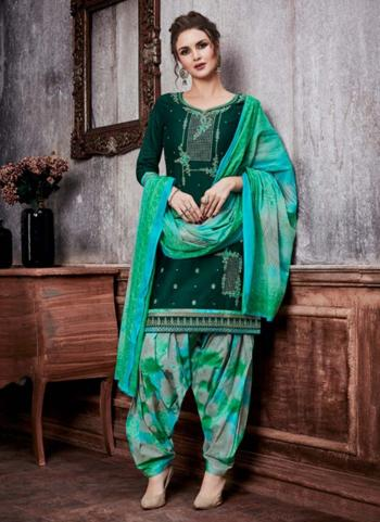 Green Cotton Satin Casual Wear Embroidery Work Ready Made Patiala Suit