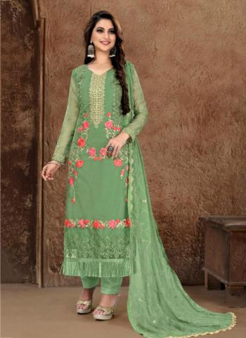 Party Wear Green Fancy Embroidery Work Churidar Suit