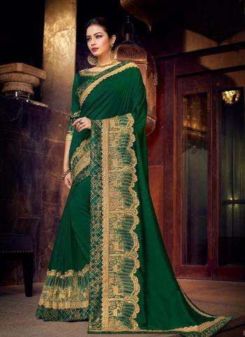 Green Fancy Wedding Wear Border Work Saree
