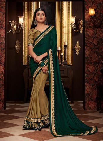 Green Fancy Wedding Wear Border Work Saree
