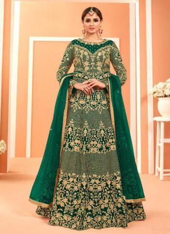 Green Faux Georgette Wedding Wear Heavy Embroidery Work Anarkali Suit