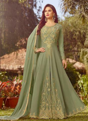 Green Georgette Festival Wear Embroidery Work Anarkali Suit