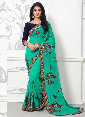 Green Georgette Festival Wear Embroidery Work Saree