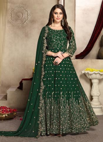 Party Wear Green Georgette Embroidery Work Anarkali Suit