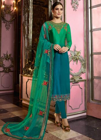 Green And Blue Georgette Party Wear Embroidery Work Churidar Suit