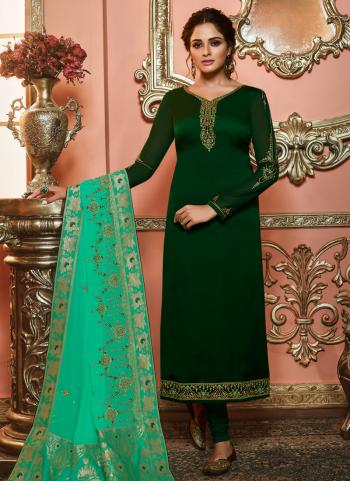 Dark Green Georgette Party Wear Embroidery Work Churidar Suit
