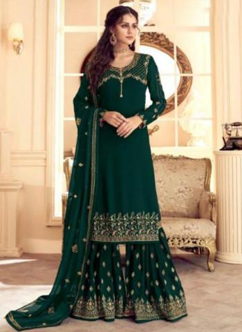 Green Georgette Satin Party Wear Embroidery Work Sharara Suit