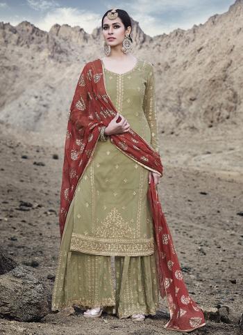 Green Georgette Wedding Wear Embroidery Work Sharara Suit