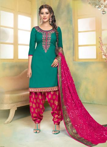 Green Glace Cotton Regular Wear Embroidery Work Patiala Suit