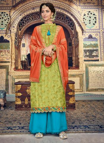 Green Jacqaurd Festival Wear Embroidery Work Palazzo Suit