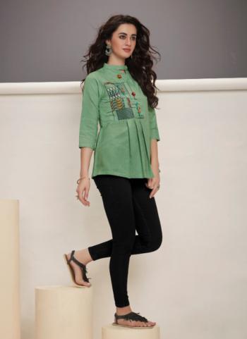 Green Jacqaurd Party Wear Weaving Short Top