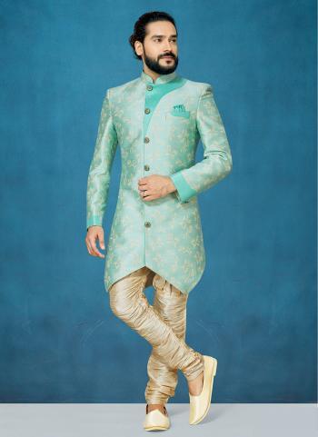 Green Jacqaurd Wedding Wear Silk Sherwani Style