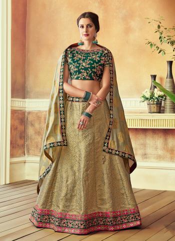 Green Jacqaurd Wedding Wear Thread Work Lehenga Choli