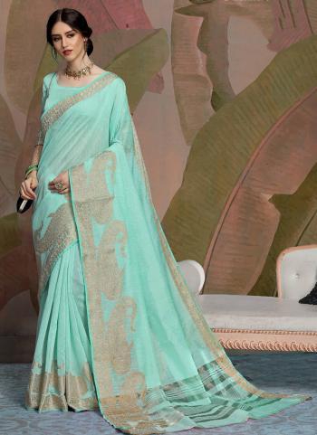 Green Linen Casual Wear Zari Work Saree