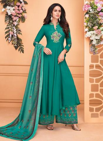 Green Muslin Party Wear Embroidery Work Ready Made Palazzo Suit