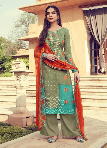 Green Pashmina Daily Wear Printed Work Palazzo Suit
