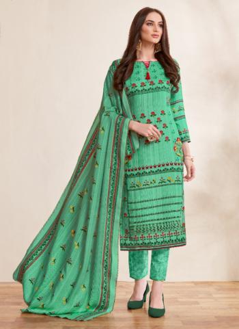 Green Pashmina Regular Wear Printed Work Churidar Suit