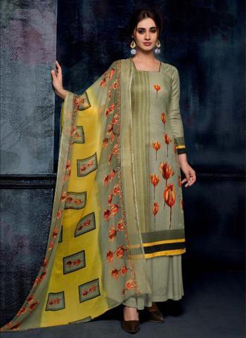Green Pashmina Regular Wear Printed Work Palazzo Suit