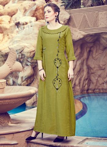 Green Rayon Casual Wear Hand Work Kurti
